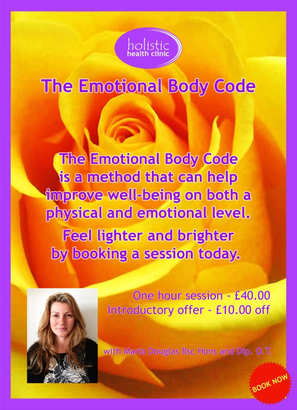 I am now offering Emotion Code Sessions at the Holistic Healing Clinic in Brighton. Please contact them on 01273 696295 to make a booking